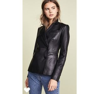 Theory Lamb Leather Blazer in Black.